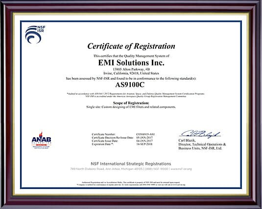 AS9100C Certification | EMI Solutions, Inc.
