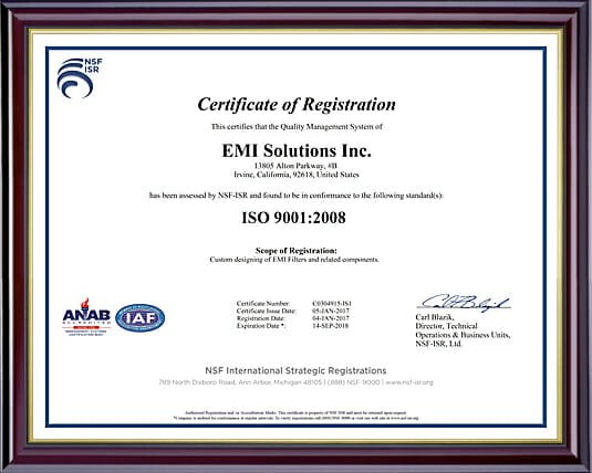 ISO 9001-2008 Certification | EMI Solutions, Inc.