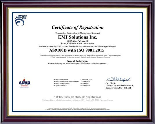 AS9100D / ISO9001:2015 Certification | EMI Solutions, Inc.