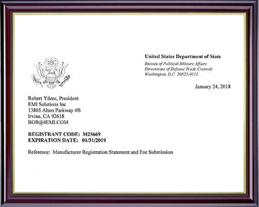 ITAR Certificate (International Traffic in Arms Regulations) | EMI Solutions, Inc.