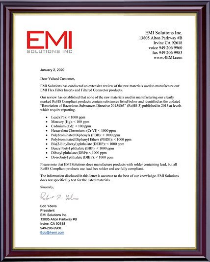 EMI Solution Inc.'s Reach/RoHS manufacturer compliance letter.